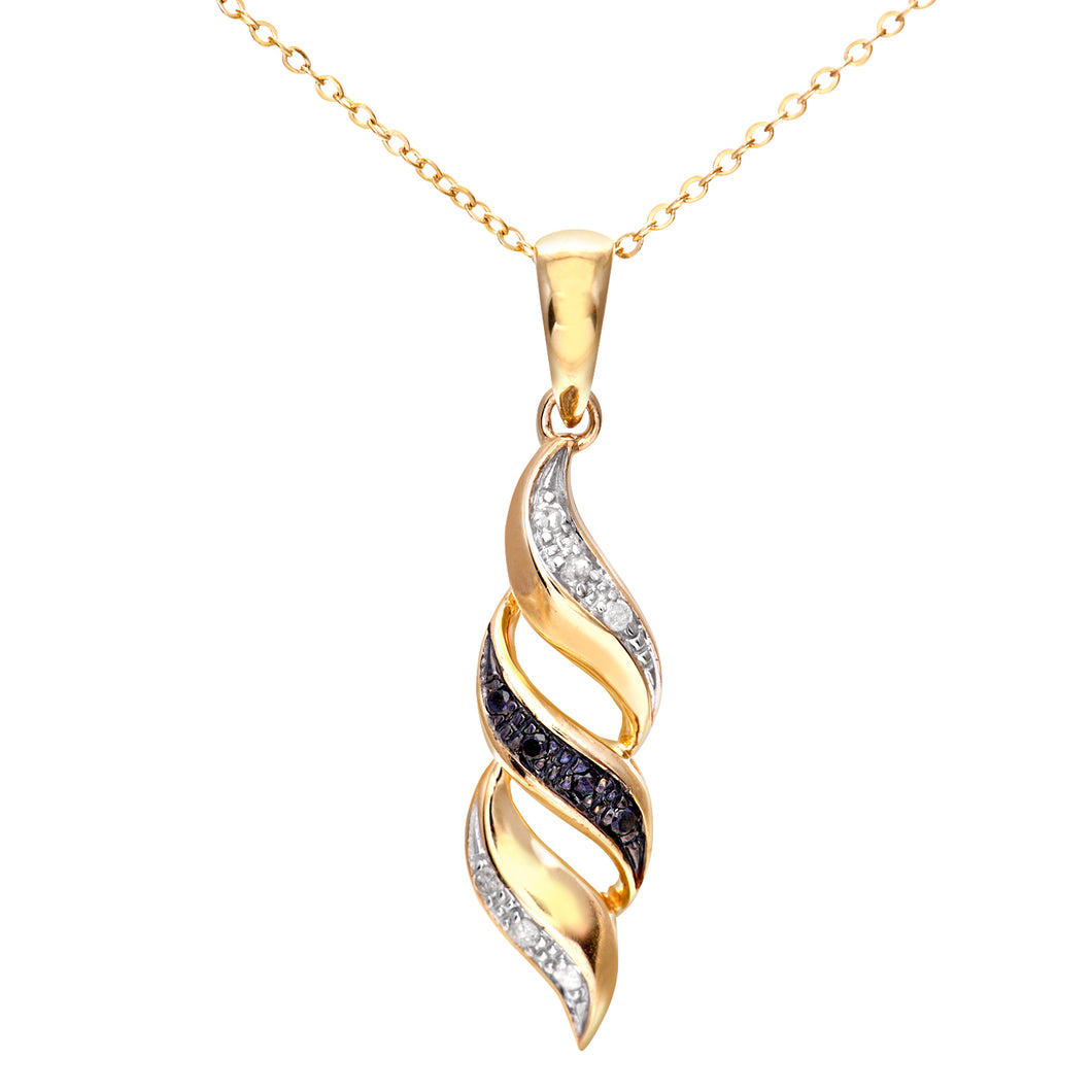 9ct Yellow Gold Black Diamond Swirl Pendant and 18