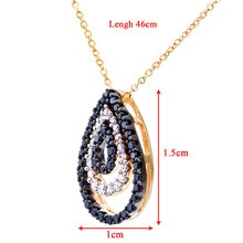 "Load image into Gallery viewer, 9ct Yellow Gold Pave Set Black Diamond Tear Drop Pendant and 18"" Chain"