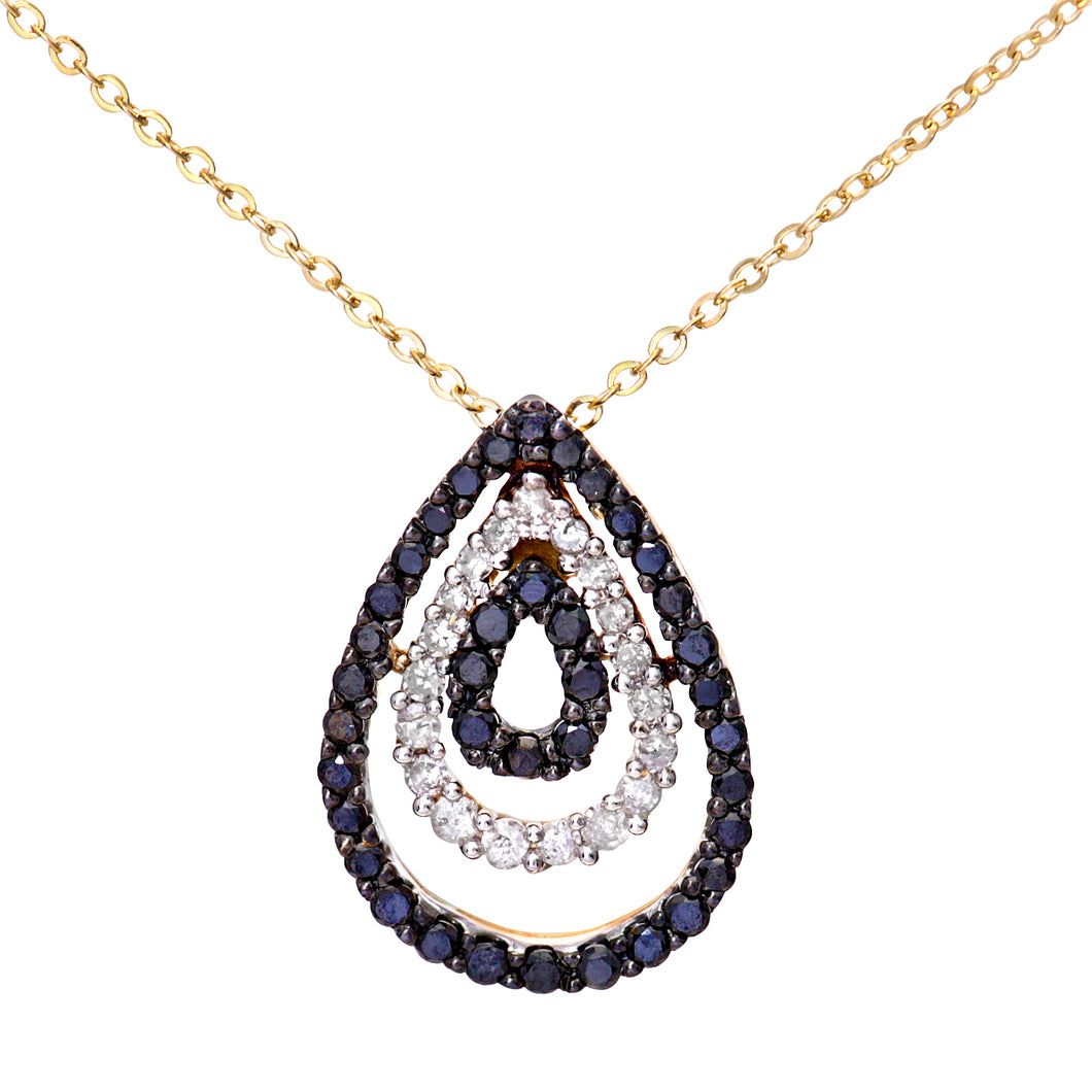 9ct Yellow Gold Pave Set Black Diamond Tear Drop Pendant and 18