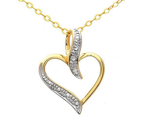 "9ct Yellow Gold Pave Set Diamond Heart Pendant and 18"" Chain"
