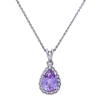 9ct White Gold Diamond Pendant with Teardrop Shaped Amethyst Stone with Chain of 46cm