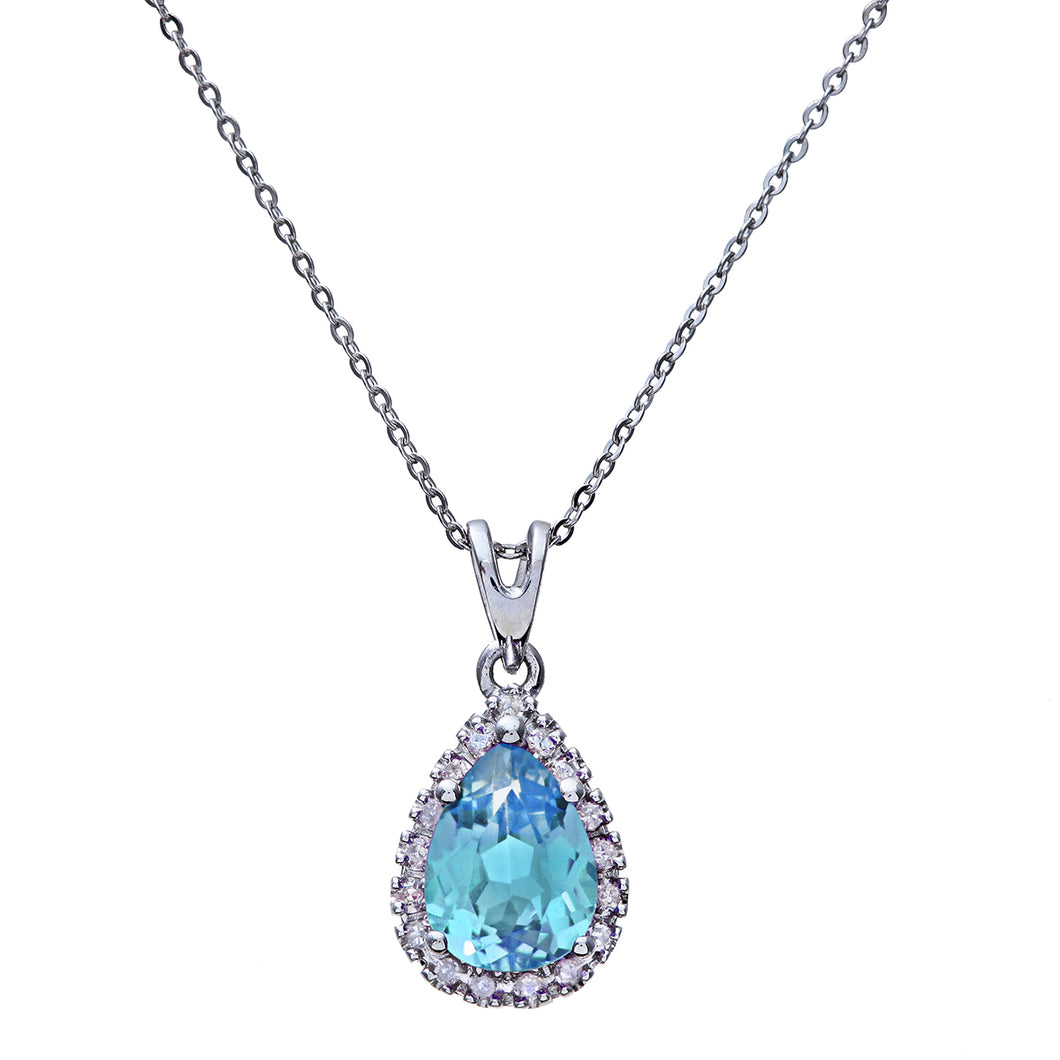 9ct White Gold Diamond Pendant with Teardrop Shaped Blue Topaz Stone with Chain of 46cm