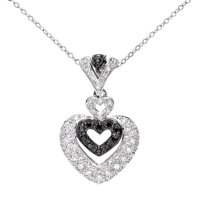 9ct White Gold Pave Set Diamond Triple Heart Pendant and 18