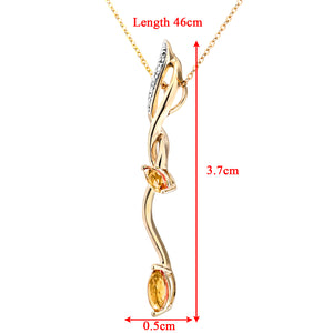 "9ct Yellow Gold Diamond and 0.35ct Citrine Drop Pendant and 18"" Chain"