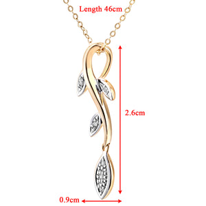 "Ladies 9ct Yellow Gold Diamond Leaf Drop Pendant + 18"" Trace Chain"