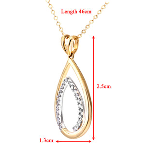 "Ladies 9ct Yellow and White Gold Diamond Fancy  Pendant + 18"" Trace Chain"
