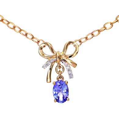 9ct Yellow Gold Tanzanite and Diamond Ribbon Pendant