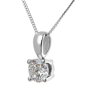 Diamond Solitaire Pendant, 18ct White Gold H/SI Round Brilliant Certified Diamond Pendant, 0.75ct Diamond Weight