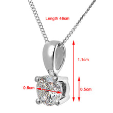 Load image into Gallery viewer, Diamond Solitaire Pendant, 18ct White Gold H/SI Round Brilliant Certified Diamond Pendant, 0.75ct Diamond Weight