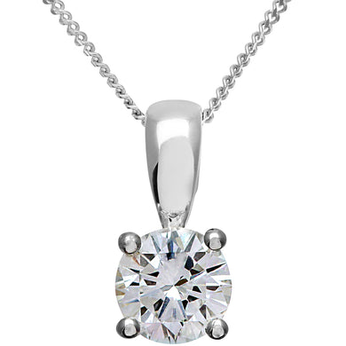 Diamond Solitaire Pendant, 18ct White Gold IJ/I Round Brilliant Certified Diamond Pendant, 0.75ct Diamond Weight