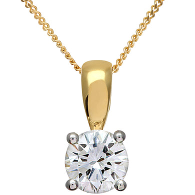 Diamond Solitaire Pendant, 18ct Yellow Gold H/SI Round Brilliant Certified Diamond Pendant, 0.75ct Diamond Weight