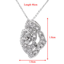 "Load image into Gallery viewer, 9ct White Gold 0.25ct Diamond Pave Set Rose Pendant and 18"" Chain"