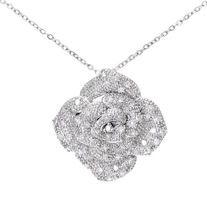 "9ct White Gold 0.25ct Diamond Pave Set Rose Pendant and 18"" Chain"