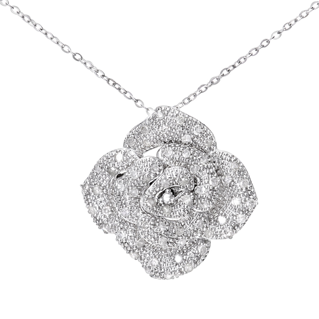 9ct White Gold 0.25ct Diamond Pave Set Rose Pendant and 18
