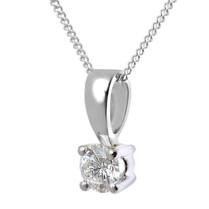 Diamond Solitaire Pendant, 18ct White Gold H/SI Round Brilliant Certified Diamond Pendant, 0.25ct Diamond Weight
