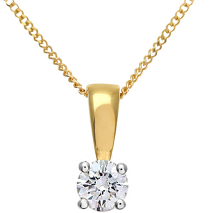 Diamond Solitaire Pendant, 18ct Yellow Gold H/SI Round Brilliant Certified Diamond Pendant, 0.25ct Diamond Weight