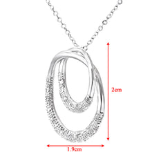 "Load image into Gallery viewer, 9ct White Gold 0.10ct Diamond Pave Set Double Ring Pendant and 18"" Chain"