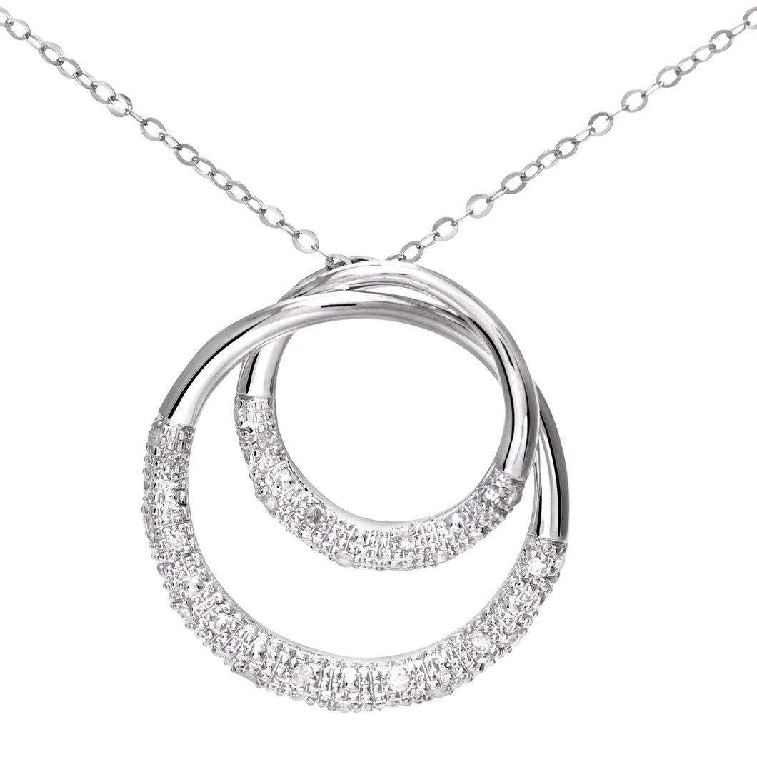 9ct White Gold 0.10ct Diamond Pave Set Double Ring Pendant and 18