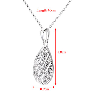 "9ct White Gold Diamond Pave Set Tear Drop Pendant and 18"" Chain"