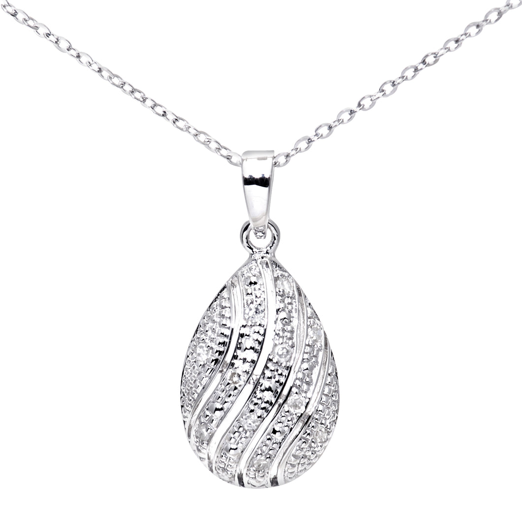 9ct White Gold Diamond Pave Set Tear Drop Pendant and 18
