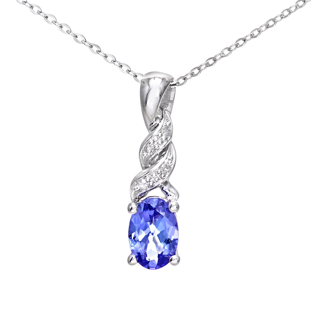 9ct White Gold Tanzanite and Diamond Twist Pendant