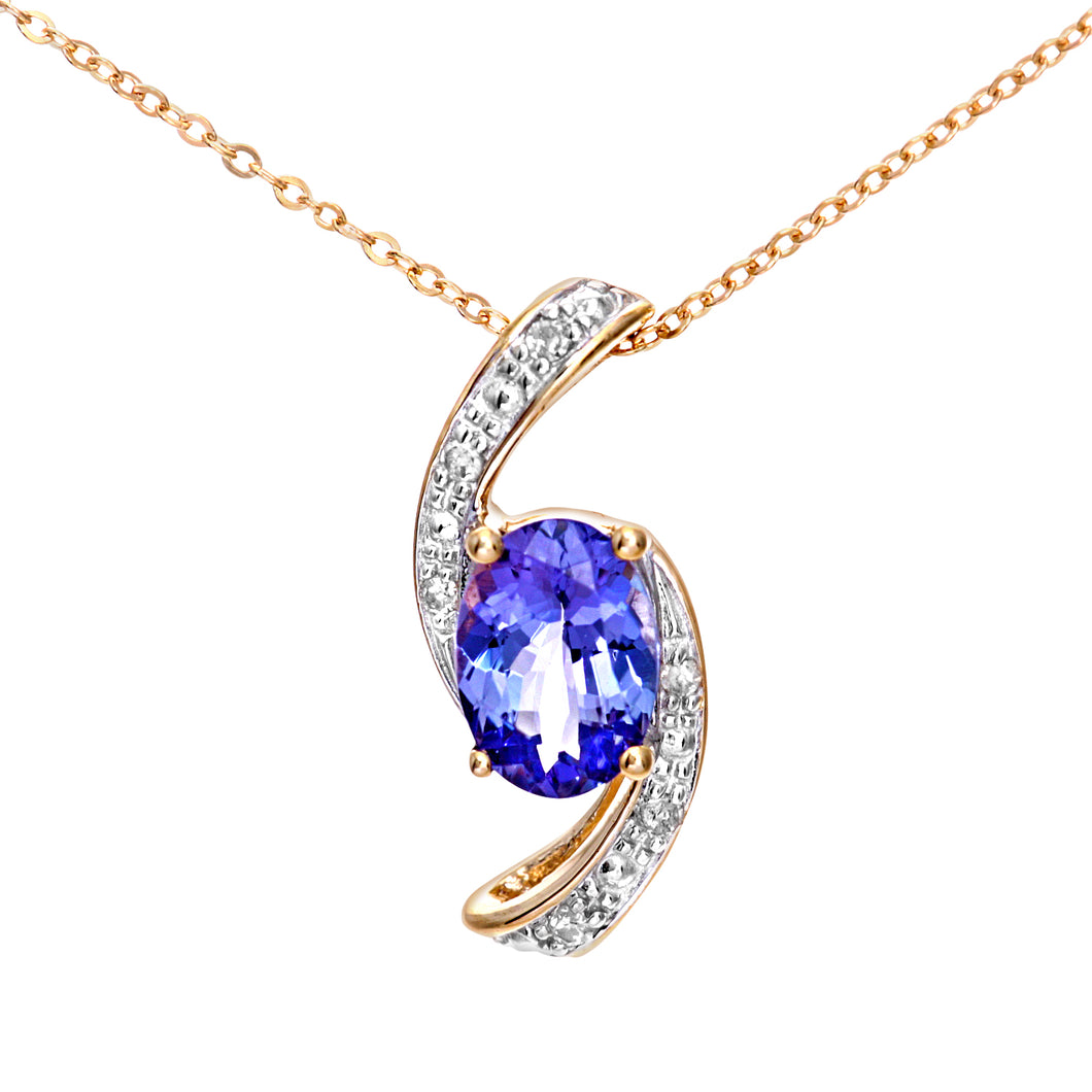 9ct Yellow Gold Tanzanite and Diamond Crossover Pendant