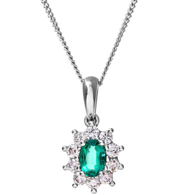 Cluster Pendant, 18ct White Gold Diamond and Emerald Pendant, 0.35ct Diamond Weight