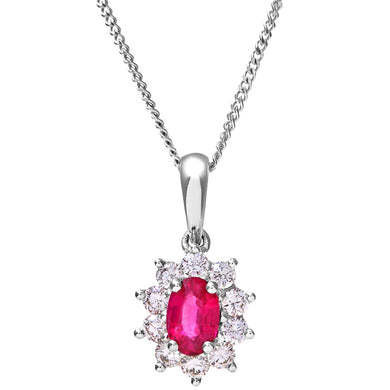 Cluster Pendant, 18ct White Gold Diamond and Ruby Pendant, 0.35ct Diamond Weight