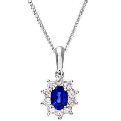 Cluster Pendant, 18ct White Gold Diamond and Sapphire Pendant, 0.35ct Diamond Weight