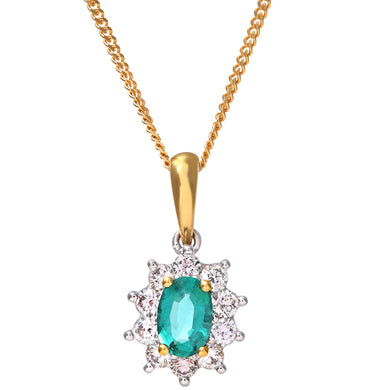 Cluster Pendant, 18ct Yellow Gold Diamond and Emerald Pendant, 0.35ct Diamond Weight