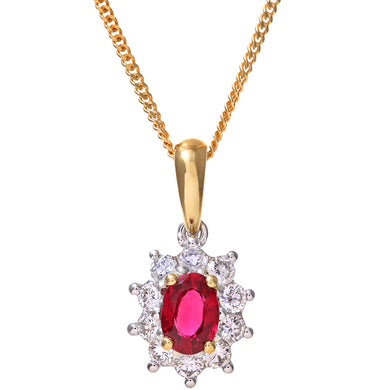 Cluster Pendant, 18ct Yellow Gold Diamond and Ruby Pendant, 0.35ct Diamond Weight