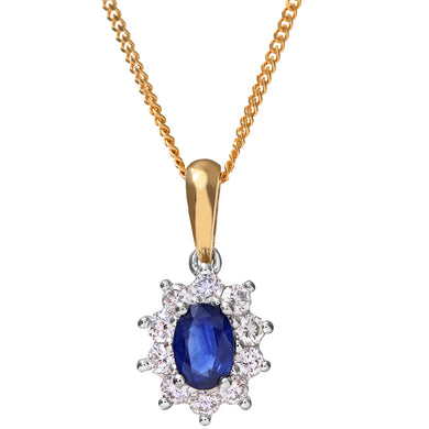 Cluster Pendant, 18ct Yellow Gold Diamond and Sapphire Pendant, 0.35ct Diamond Weight