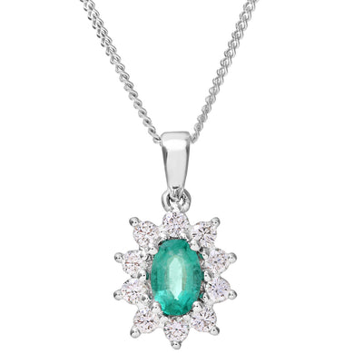Cluster Pendant, 18ct White Gold Diamond and Emerald Pendant, 0.33ct Diamond Weight