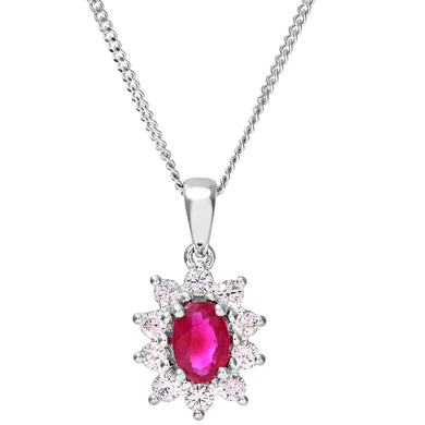 Cluster Pendant, 18ct White Gold Diamond and Ruby Pendant, 0.33ct Diamond Weight