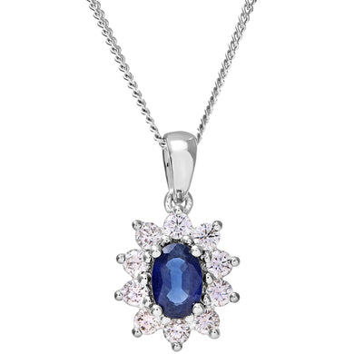 Cluster Pendant, 18ct White Gold Diamond and Sapphire Pendant, 0.33ct Diamond Weight