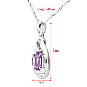 "9ct White Gold Pave Set Diamond and Amethyst Drop Pendant and 18"" Chain"