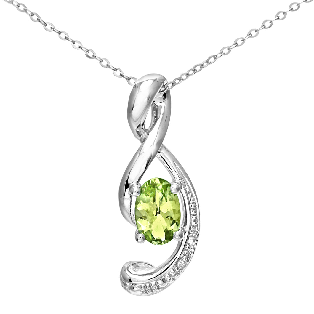 9ct White Gold Pave Set Diamond and Gemstone Music Note Pendant and 18