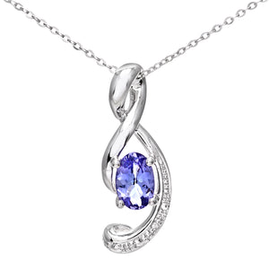 9ct White Gold Tanzanite Music Note Pendant with Diamond