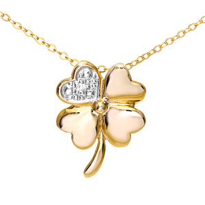 "9ct Yellow Gold Pave Set Diamond Flower Pendant and 18"" Chain"