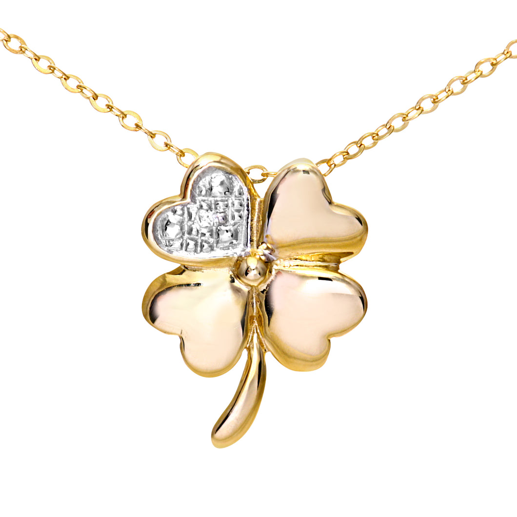 9ct Yellow Gold Pave Set Diamond Flower Pendant and 18