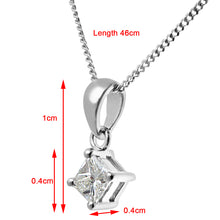 Load image into Gallery viewer, 18ct White Gold 1/4 Carat J/SI Certified Princess Cut Diamond Solitare Pendant + Chain