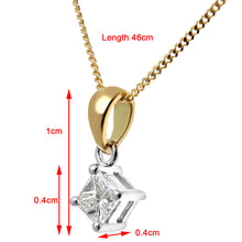 Load image into Gallery viewer, 18ct Yellow Gold 1/4 Carat J/SI Certified Princess Cut Diamond Solitare Pendant + Chain