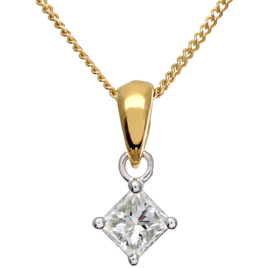 18ct Yellow Gold 1/4 Carat J/SI Certified Princess Cut Diamond Solitare Pendant + Chain