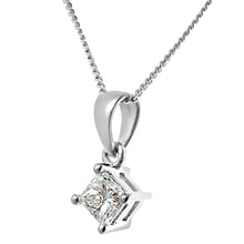 Load image into Gallery viewer, 18ct White Gold 1/3 Carat J/I Certified Princess Cut Diamond Solitare Pendant + Chain
