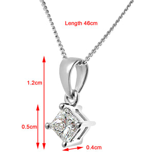 18ct White Gold 1/3 Carat J/I Certified Princess Cut Diamond Solitare Pendant + Chain