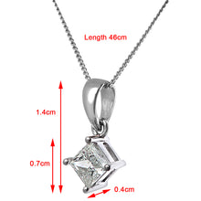 Load image into Gallery viewer, 18ct White Gold 1/2 Carat J/SI Certified Princess Cut Diamond Solitare Pendant + Chain