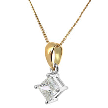 Load image into Gallery viewer, 18ct Yellow Gold 1/2 Carat J/I Certified Princess Cut Diamond Solitare Pendant + Chain