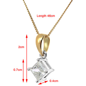 18ct Yellow Gold 1/2 Carat J/I Certified Princess Cut Diamond Solitare Pendant + Chain