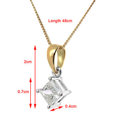 Load image into Gallery viewer, 18ct Yellow Gold 1/2 Carat J/SI Certified Princess Cut Diamond Solitare Pendant + Chain