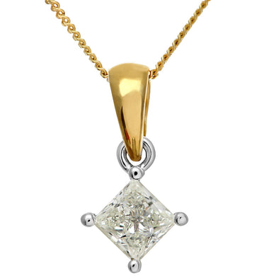 18ct Yellow Gold 1/2 Carat J/SI Certified Princess Cut Diamond Solitare Pendant + Chain
